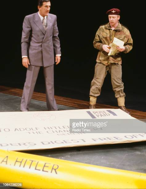 Comedians Russ Abbot and Les Dennis in an army sketch from the BBC Television series 'The Russ Abbot Show' May 5th 1989