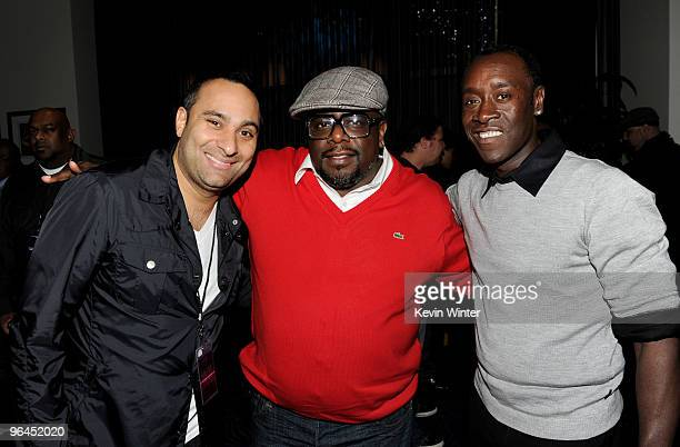 Comedians Russell Peters Cedric The Entertainer and actor Don Cheadle pose Backstage at Help Haiti with George Lopez Friends at LA Live's Nokia...