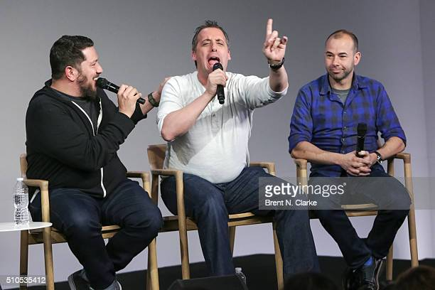 Comedians Sal Vulcano Joe Gatto and James Murray speak on stage during Apple Store Soho Presents Meet The Impractical Jokers held at Apple Store Soho...