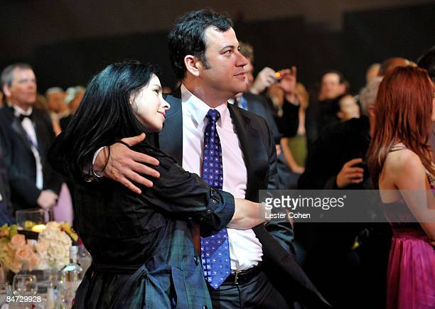 Comedians Sarah Silverman and Jimmy Kimmel attend the 2009 MusiCares Person of the Year Tribute to Neil Diamond at the Los Angeles Convention Center...