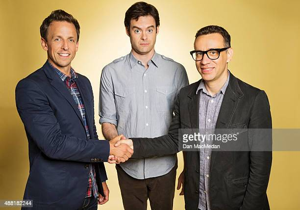 Comedians Seth Meyers Fred Armisen and Bill Hader are photographed for USA Today on July 31 2015 in Beverly Hills California