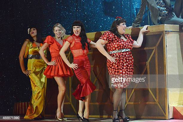 Comedians Sofia Mountassir Aurore Delplace Fanny Fourquez and Lola Ces performs during 'Love Circus' Press Preview At the Folies Bergeres on...