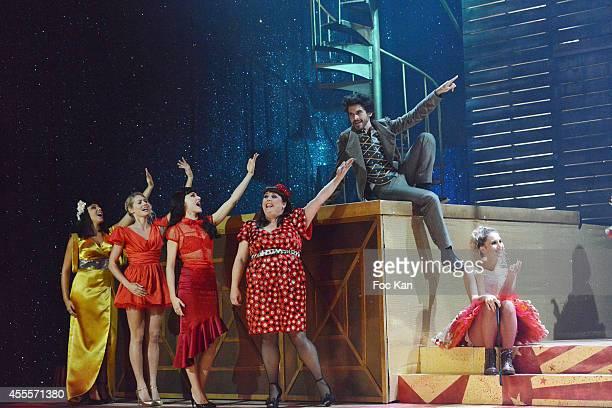 Comedians Sofia Mountassir Aurore Delplace Fanny Fourquez Lola Ces Vincent Heden and Alexandra Trovato perform during the 'Love Circus' Press Preview...