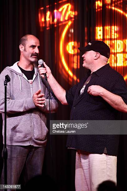 Comedians Steven Brody Stevens and Don Barris perform at The Comedy Store's 40th anniversary celebration at The Comedy Store on April 21 2012 in West...