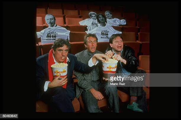 Comedians Terry Gilliam Eric Idle Terry Jones eating popcorn celebrating 20th Anniv of Monty Python's Flying Circus Museum of Broadcasting