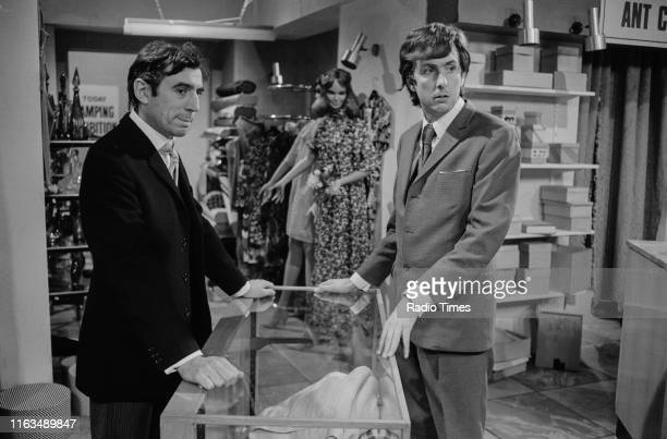 Comedians Terry Jones and Eric Idle in the 'Buying an Ant' sketch from series 4 of the BBC television show 'Monty Python's Flying Circus' October...