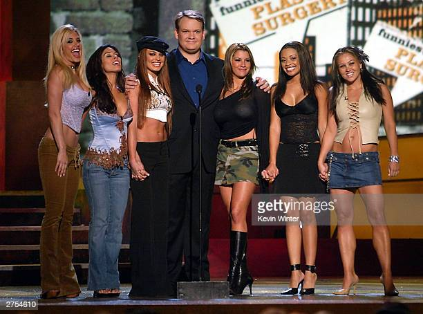 Comedians 'The Juggies' with host Andy Richter speak on stage during Comedy Central's First Ever Awards Show 'The Commies' held on November 22 2003...