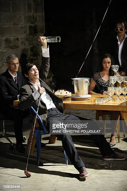 """Comedians Thomas Landbo, Clotilde Hesme, Jeanne Tremsal and Mathieu Genet perform during a rehearsal of """"Ball"""" by Bertolt Brecht directed by French..."""