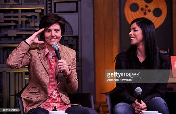 Comedians Tig Notaro and Sarah Silverman participate in Day 2 of the Cinema Cafe during the 2015 Sundance Film Festival on January 24 2015 in Park...