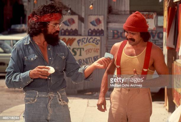 Comedians Tommy Chong and Cheech Marin in a scene from the movie 'Up In Smoke' which was released in September 1978