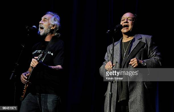 Comedians Tommy Chong and Cheech Marin perform onstage at Help Haiti with George Lopez Friends at LA Live's Nokia Theater on February 4 2010 in Los...