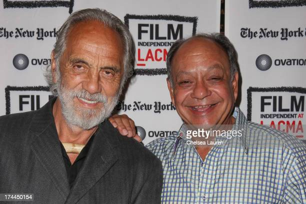Comedians Tommy Chong and Cheech Marin pose backstage at Film Independent's Up In Smoke special screening at Bing Theatre At LACMA on July 25 2013 in...