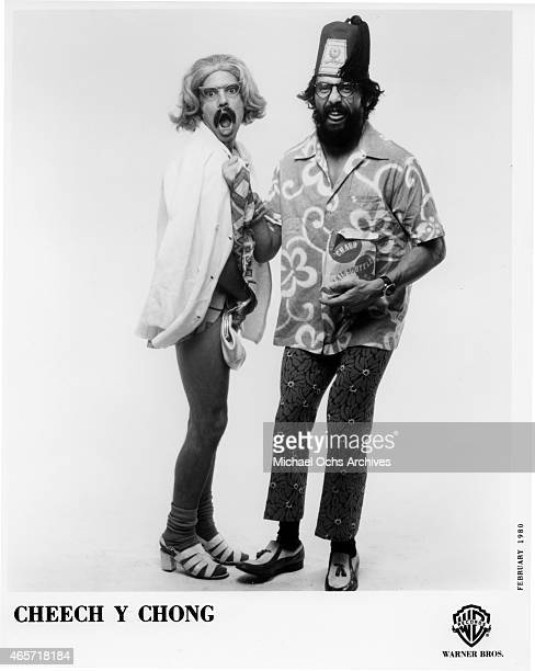 Comedians Tommy Chong and Cheech Marin pose for publicity portrait in February 1980