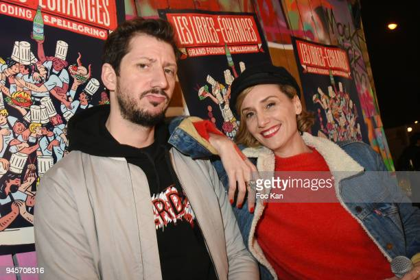 Comedians TV presenters Monsieur Poulpe and Anne Sophie Girard attend the Fooding Les Libres Echanges at L'Aerosol on April 12 2018 in Paris France