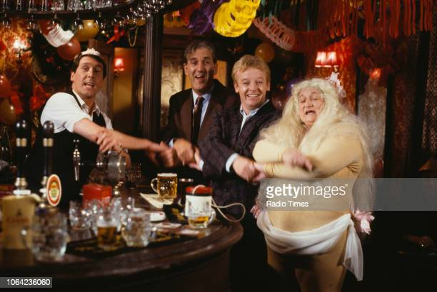 Comedians unknown Russ Abbot Les Dennis and Bella Emberg in a pub sketch from the Christmas special of BBC Television series 'The Russ Abbot Show'...