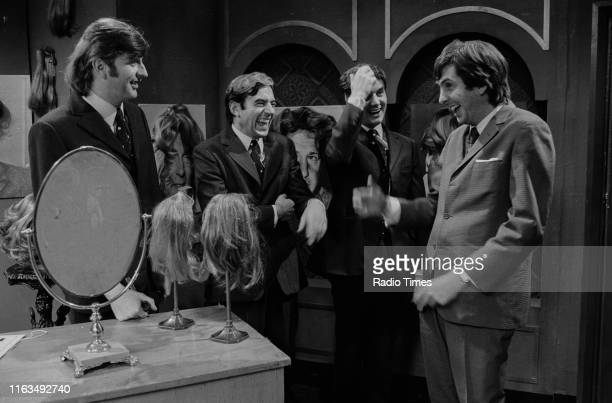 Comedians unknown Terry Jones Michael Palin and Eric Idle in a sketch from series 4 of the BBC television show 'Monty Python's Flying Circus' October...