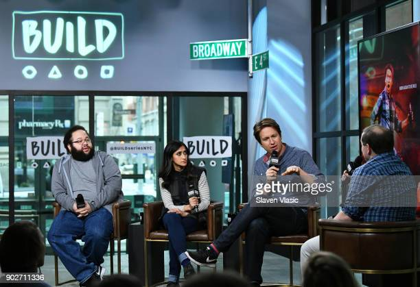 Comedians Zach Cherry Aparna Nancherla and Pete Holmes visit Build Series to discuss their new HBO show 'Crashing' at Build Studio on January 8 2018...