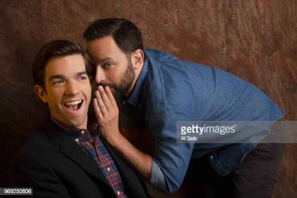 Comedians/actors Nick Kroll and John Mulaney are photographed for Los Angeles Times on February 15 2017 in Hollywood California PUBLISHED IMAGE...