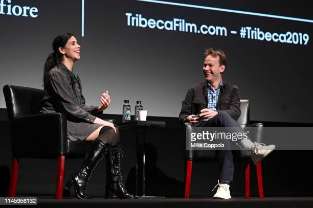 Comedians/actors Sarah Silverman and Mike Birbiglia attend Tribeca Talks Storytellers Sarah Silverman With Mike Birbiglia 2019 Tribeca Film Festival...