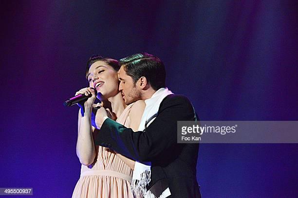 Comedians/singers Mathilde Ollivier and Fabian RichardÊperform during the 'Mistinguett Reine des Annes Folles' At The Casino De Paris on June 3 2014...