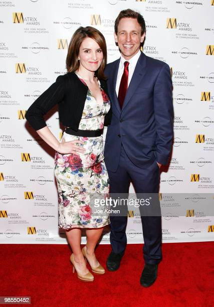 ComediansTina Fey and Seth Meyers attend the 2010 Matrix Awards presented by New York Women in Communications at The Waldorf=Astoria on April 19 2010...