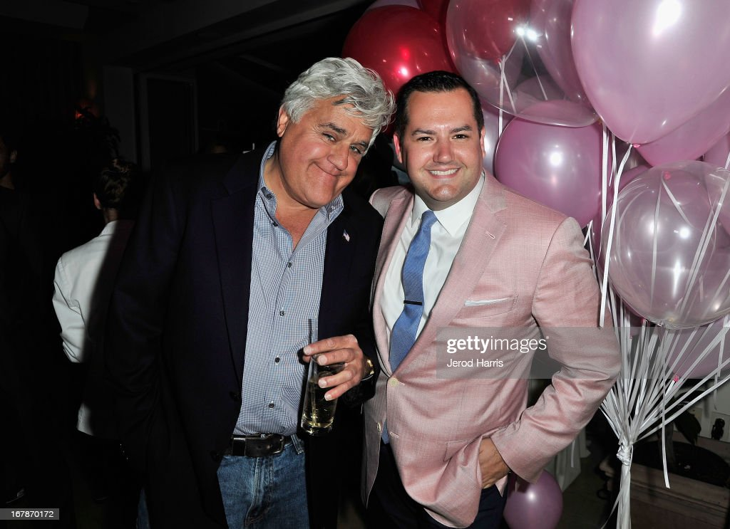 Comedians/TV personalities Jay Leno (L) and Ross Mathews at 'Roast and Toast with Ross Mathews' hosted by Target to celebrate the launch of Mathews' book 'Man Up!' at Sunset Tower on May 1, 2013 in West Hollywood, California.