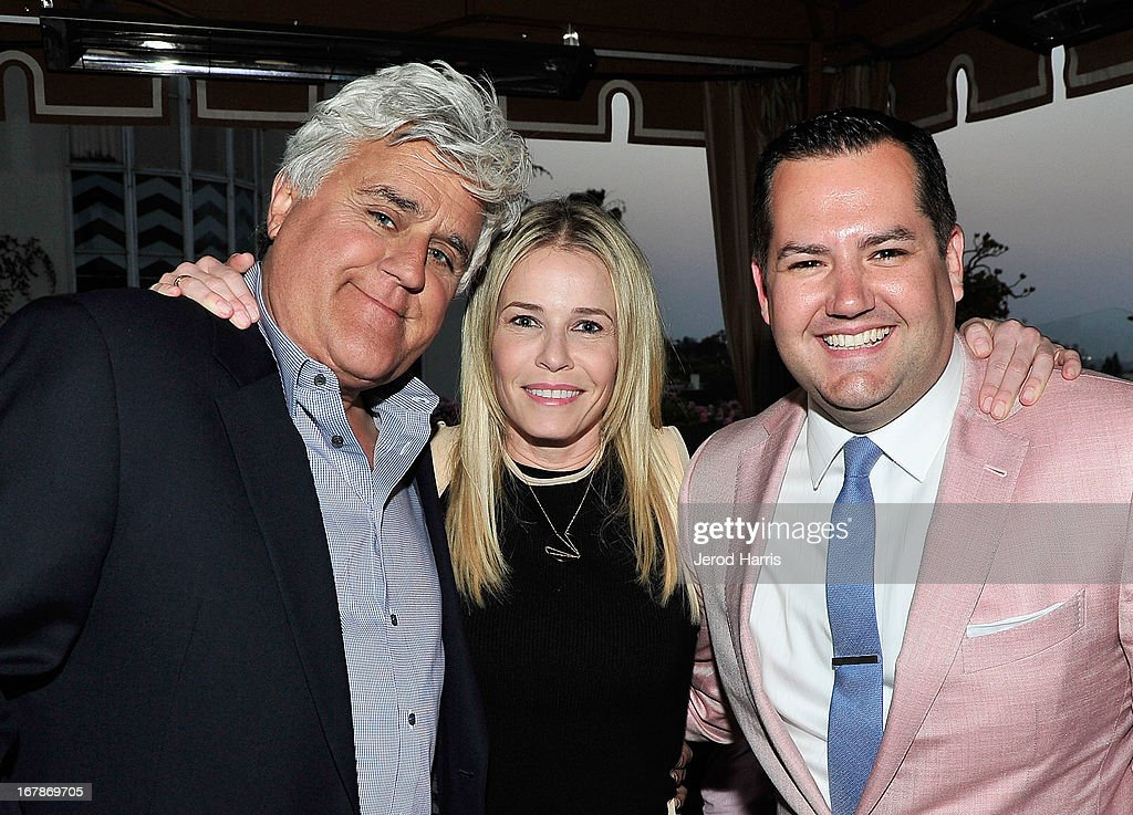 Comedians/TV personalities Jay Leno, Chelsea Handler and Ross Mathews at 'Roast and Toast with Ross Mathews' hosted by Target to celebrate the launch of Mathews' book 'Man Up!' at Sunset Tower on May 1, 2013 in West Hollywood, California.