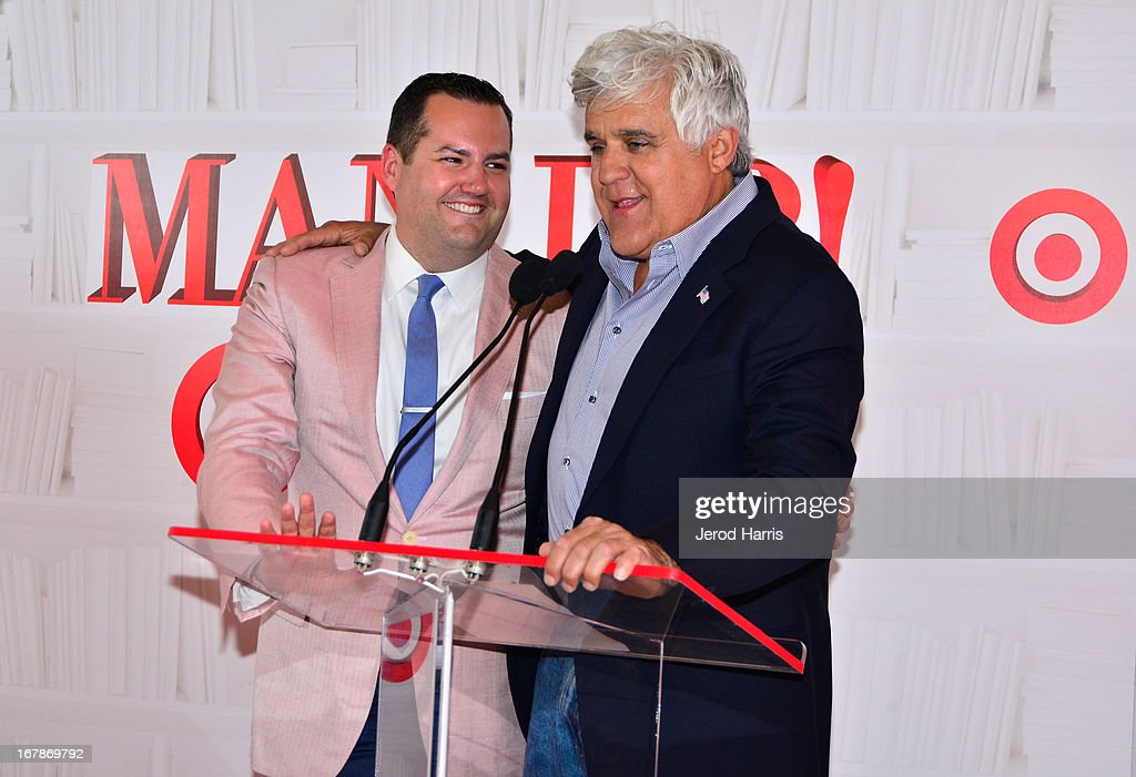 Comedians/TV personalities Ross Mathews (L) and Jay Leno at 'Roast and Toast with Ross Mathews' hosted by Target to celebrate the launch of Mathews' book 'Man Up!' at Sunset Tower on May 1, 2013 in West Hollywood, California.