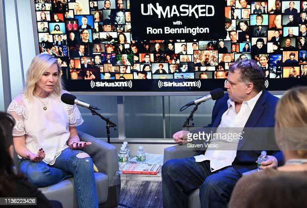 Comedian/TV host Chelsea Handler talks to host Ron Bennington at Unmasked at SiriusXM Studios on April 10, 2019 in New York City.
