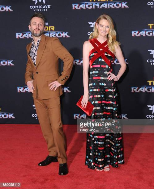 Comedian/tv personality Chris Hardwick and actress/model Lydia Hearst attend the World premiere of Disney and Marvel's 'Thor Ragnarok' at El Capitan...