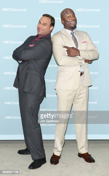 Comedian/TV personality Matt Iseman and TV personality Akbar GbajaBiamila attends the 2018 NBCUniversal Upfront presentation at Rockefeller Center on...