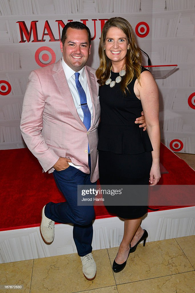 Comedian/TV personality Ross Mathews and Target Divisional Merchandise Manager of Entertainment Anne Stanchfield at 'Roast and Toast with Ross Mathews' hosted by Target to celebrate the launch of Mathews' book 'Man Up!' at Sunset Tower on May 1, 2013 in West Hollywood, California.