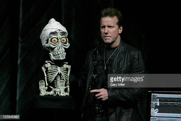 Comedian/ventriloquist Jeff Dunham performs with his dummy Achmed The Dead Terrorist at The Frank Erwin Center on June 26 2010 in Austin Texas