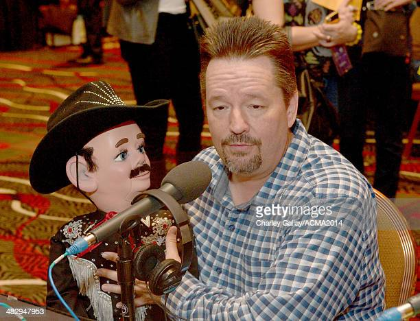 Comedian/ventriloquist Terry Fator backstage at the Cumulus/Westwood One Radio Remotes during the 49th Annual Academy of Country Music Awards at the...