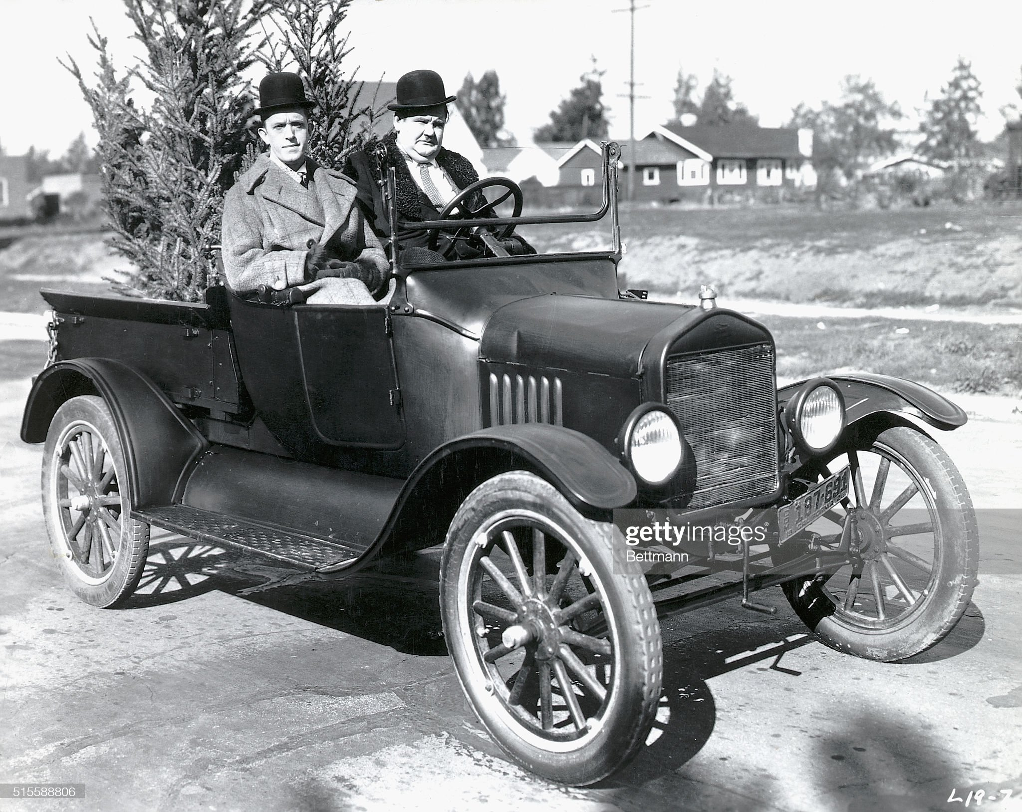 Laurel and Hardy in a Model T Ford : News Photo