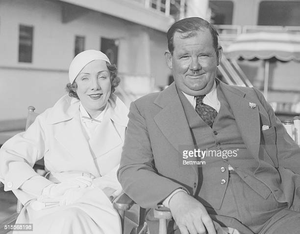 Comedic film star Oliver Hardy and his wife Myrtle Reeves aboard the SS Santa Lucia before leaving port for their Central American vacation