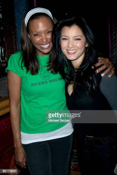 Comedienne Aisha Tyler and Kelly Hu attend the west coast launch of HeadCount Organization at the House of Blues on November 17 2009 in West...