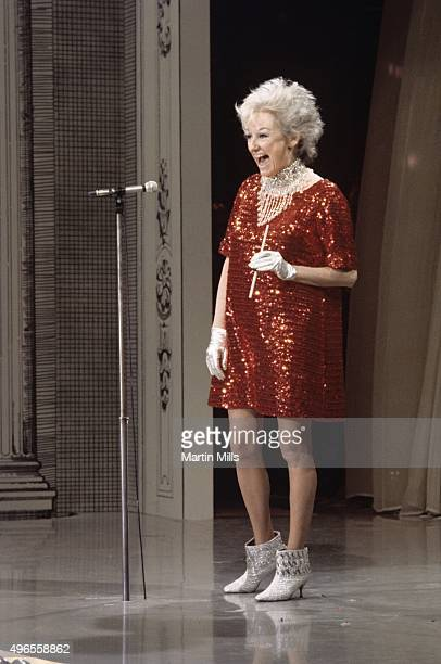 Comedienne and actress Phyllis Diller performs on the Colgate Comedy Hour on May 11 1967 in Los Angeles California