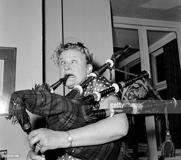 Comedienne Anna Russell who flew into London for an Edinburgh Festival date was busy learning to play the bagpipes at the Savoy Hotel where she is...