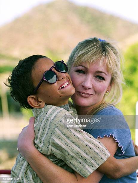 Comedienne Caroline Aherne with cataract patient Hemaram at the Shree Bhairav Eye Hospital during a visit to promote the work of Sight Savers in...