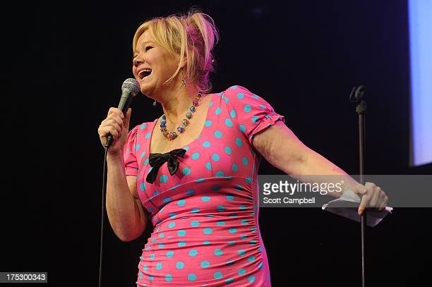 Comedienne Caroline Rhea performs during the Gilded Balloon press launch at The Edinburgh Festival Fringe on August 1 2013 in Edinburgh Scotland