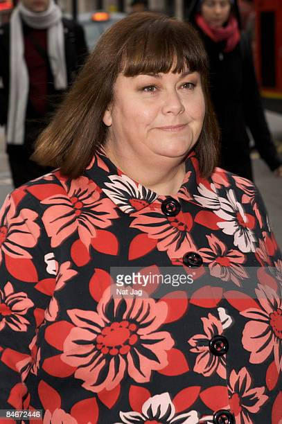 Comedienne Dawn French arrives to attend a Memorial Service for the late Geoff Perkins comedy writer and producer at Her Majesty's Theatre on...