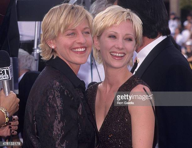 Comedienne Ellen DeGeneres and actress Anne Heche attend the 49th Annual Primetime Emmy Awards on September 14 1997 at the Pasadena Civic Auditorium...