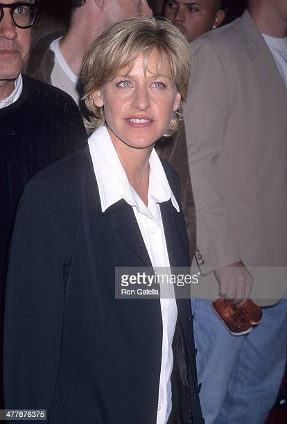 Comedienne Ellen DeGeneres attends the 'Volcano' Hollywood Premiere on April 15 1997 at the Mann's Chinese Theatre in Hollywood California