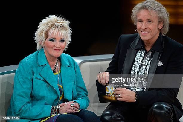 Comedienne Gaby Koester and presenter Thomas Gottschalk attend the taping of the anniversary show '30 Jahre RTL Die grosse Jubilaeumsshow mit Thomas...
