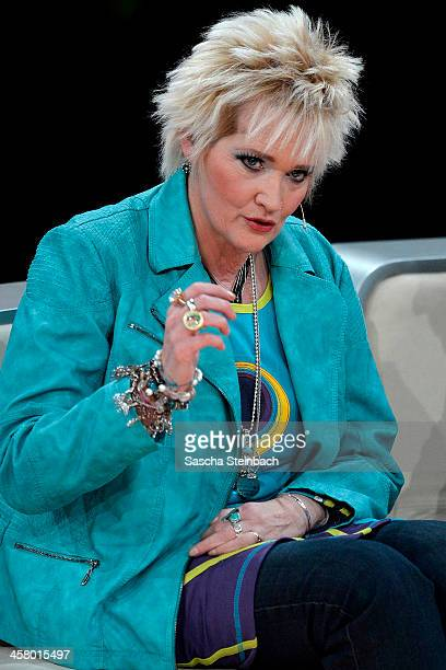 Comedienne Gaby Koester looks on during the taping of the anniversary show '30 Jahre RTL Die grosse Jubilaeumsshow mit Thomas Gottschalk' on December...