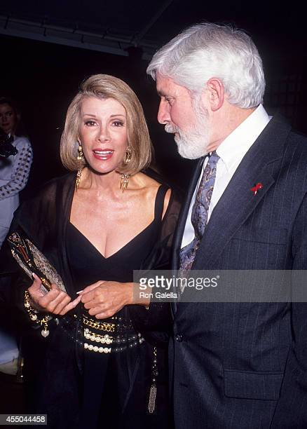 Comedienne Joan Rivers and guest attend the Second Annual 'Boathouse Rock' Dance Party to Benefit amfAR on June 28 1993 at the Central Park Boathouse...