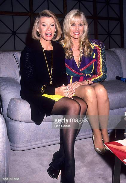 Comedienne Joan Rivers and television personality Dian Parkinson on the set of The Joan Rivers Show on November 8 1993 at the CBS Broadcast Center...
