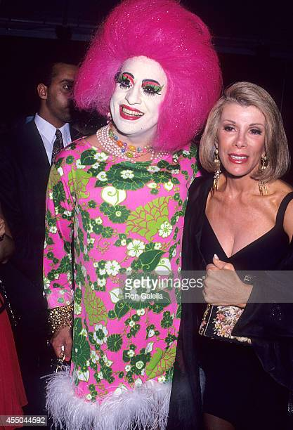 Comedienne Joan Rivers and transvestite attend the Second Annual 'Boathouse Rock' Dance Party to Benefit amfAR on June 28 1993 at the Central Park...