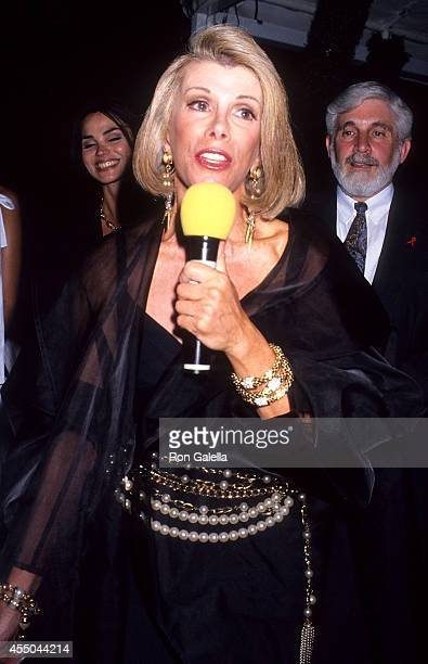 Comedienne Joan Rivers attends the Second Annual 'Boathouse Rock' Dance Party to Benefit amfAR on June 28 1993 at the Central Park Boathouse in New...
